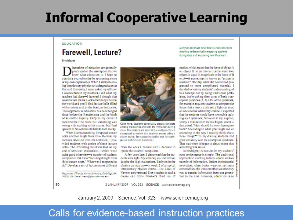 Informal Cooperative Learning