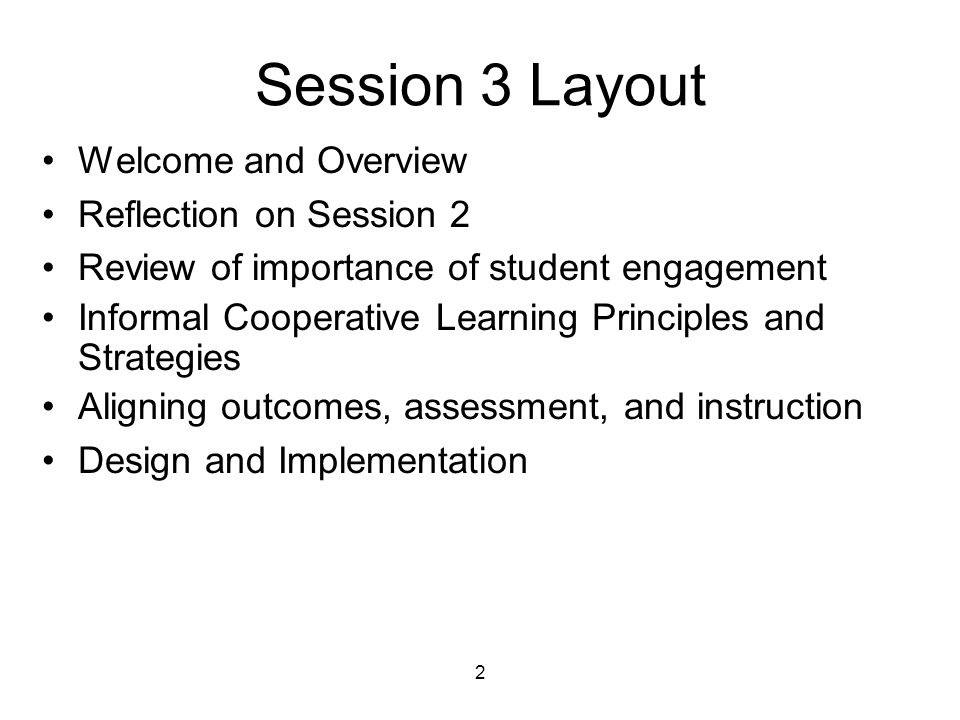 Session 3 Layout Welcome and Overview Reflection on Session 2