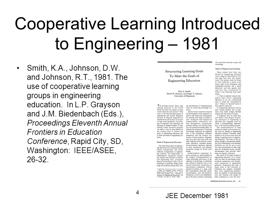 Cooperative Learning Introduced to Engineering – 1981