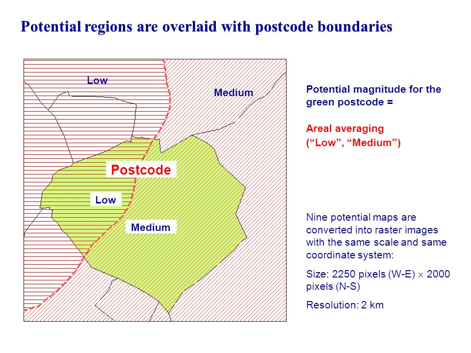 Potential regions are overlaid with postcode boundaries