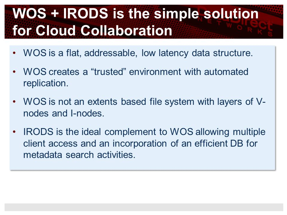 WOS + IRODS is the simple solution for Cloud Collaboration