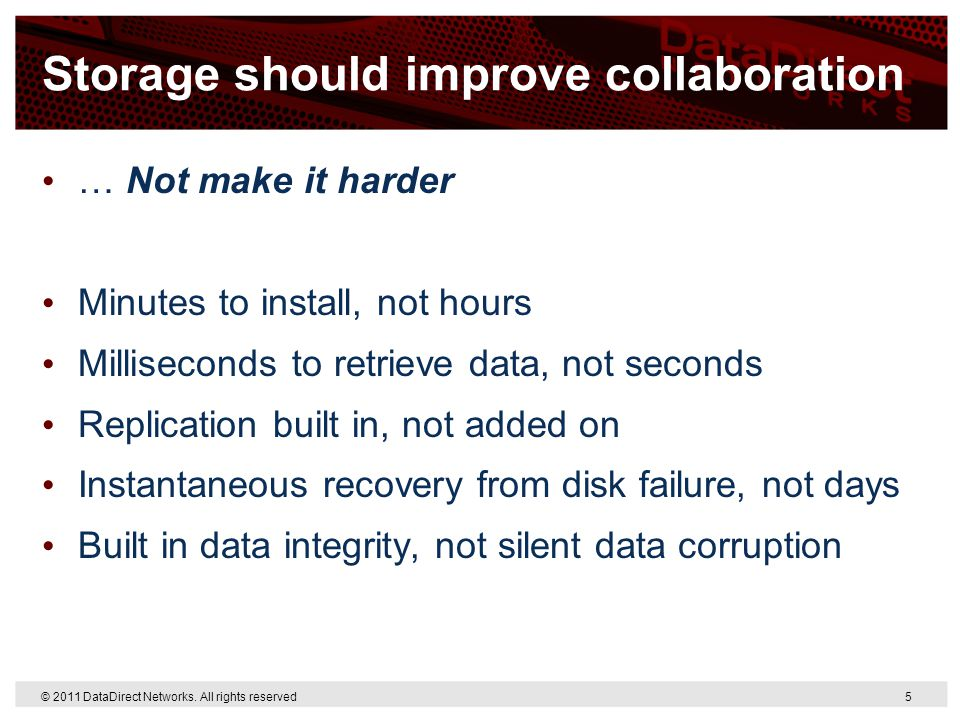 Storage should improve collaboration