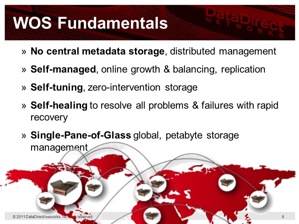WOS Fundamentals No central metadata storage, distributed management