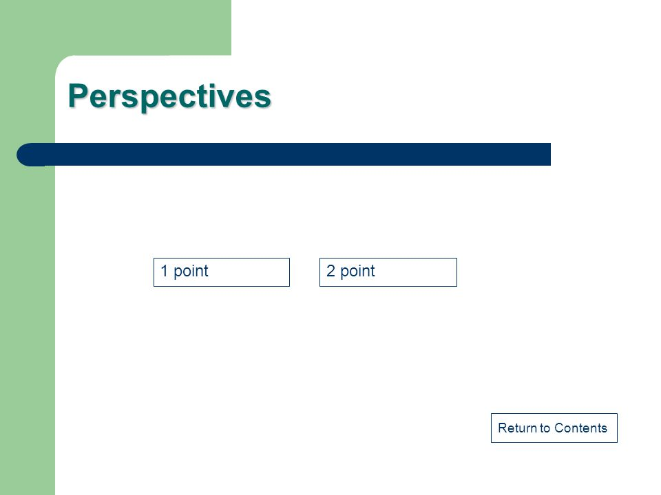 Perspectives 1 point 2 point Return to Contents