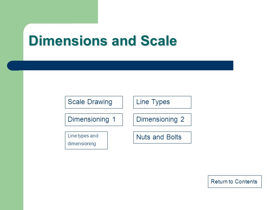 Dimensions and Scale Scale Drawing Line Types Dimensioning 1