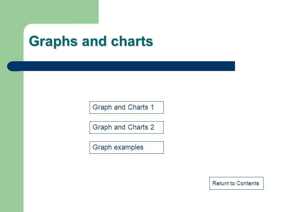 Graphs and charts Graph and Charts 1 Graph and Charts 2 Graph examples