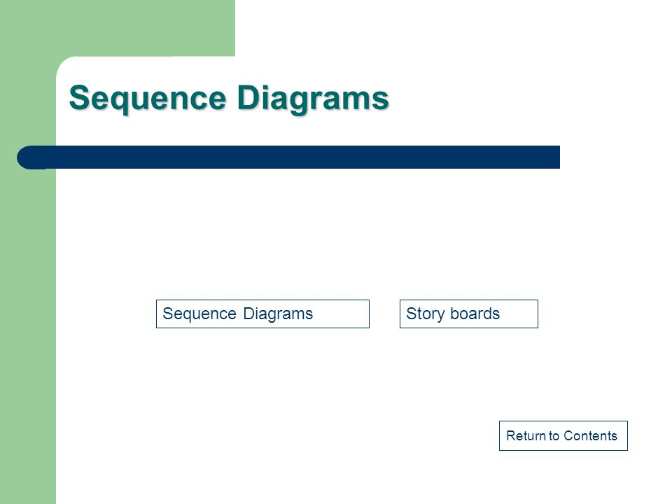 Sequence Diagrams Sequence Diagrams Story boards Return to Contents