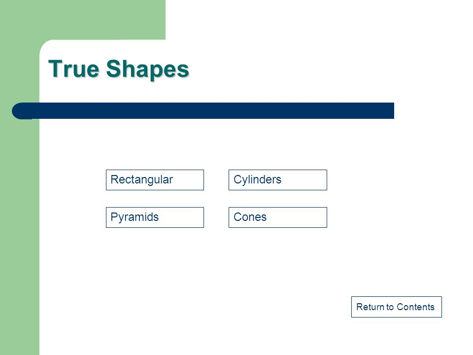 True Shapes Rectangular Cylinders Pyramids Cones Return to Contents