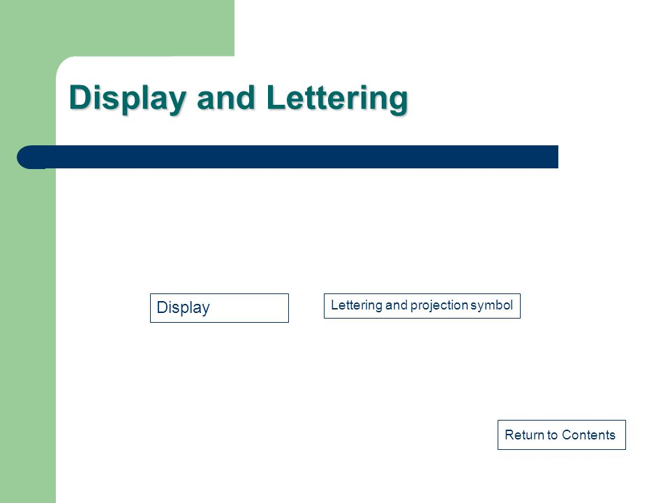 Display and Lettering Display Lettering and projection symbol
