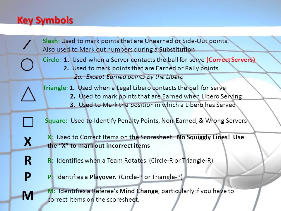 Key Symbols Slash: Used to mark points that are Unearned or Side-Out points. Also used to Mark out numbers during a Substitution.
