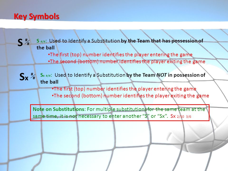 Key Symbols S. # S #/#: Used to Identify a Substitution by the Team that has possession of the ball.