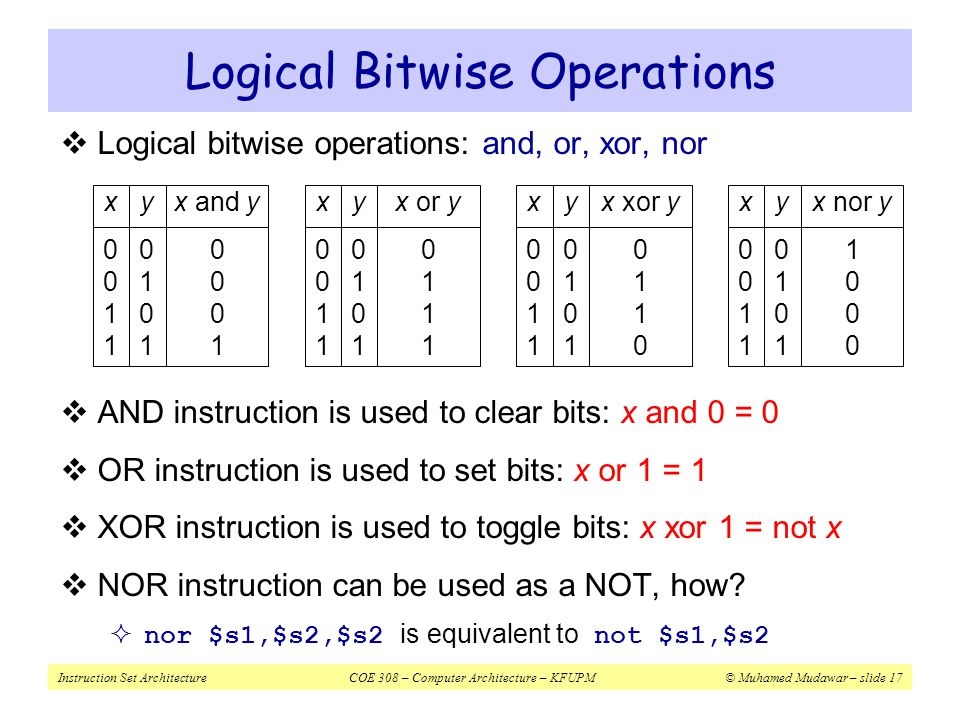 Logical Bitwise Operations