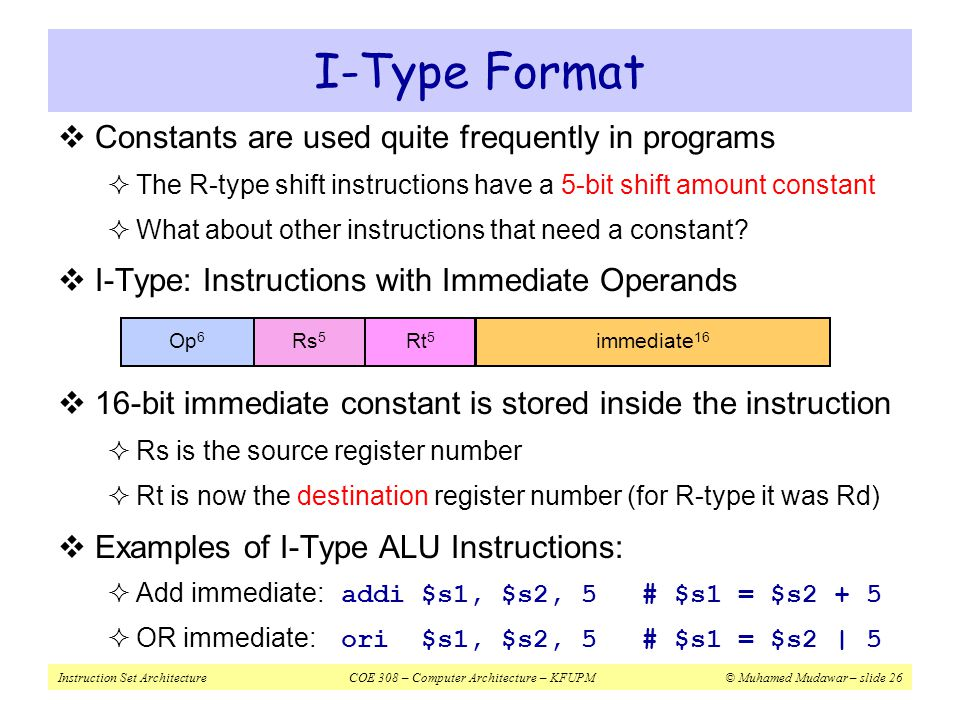 I-Type Format Constants are used quite frequently in programs