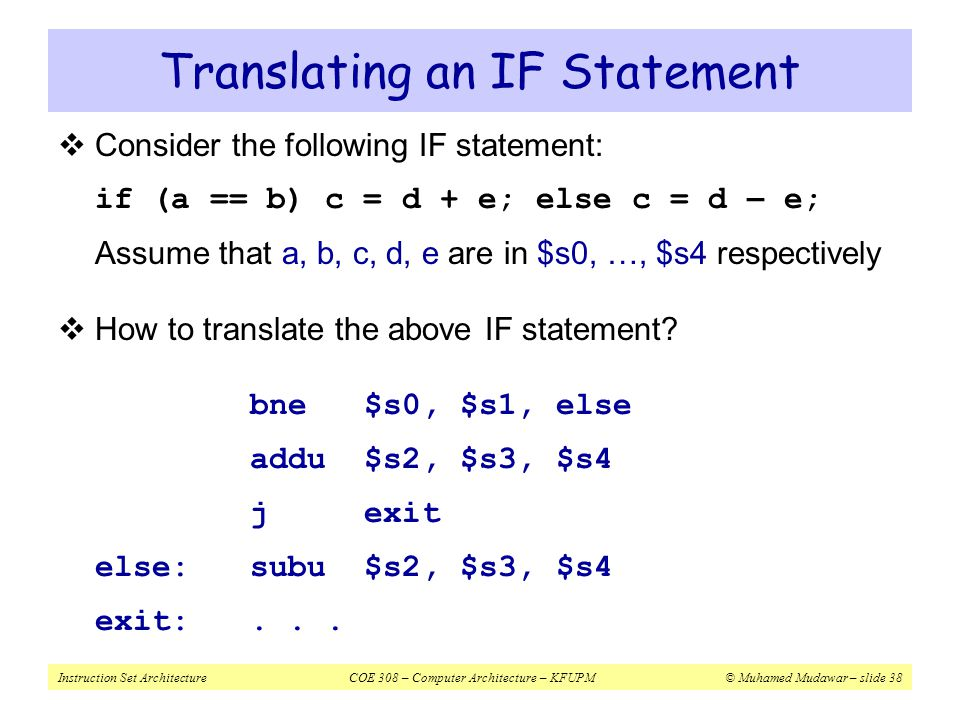 Translating an IF Statement