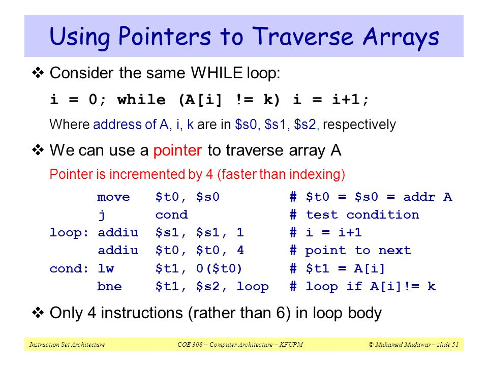 Using Pointers to Traverse Arrays