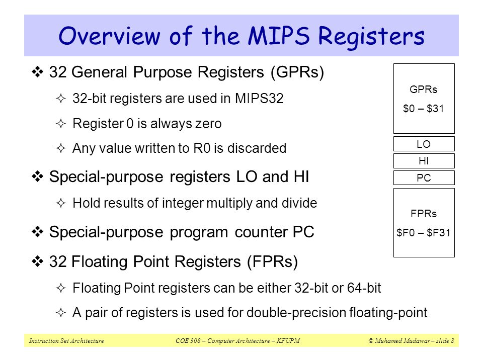 Overview of the MIPS Registers