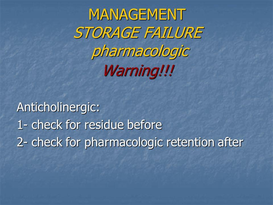 MANAGEMENT STORAGE FAILURE pharmacologic