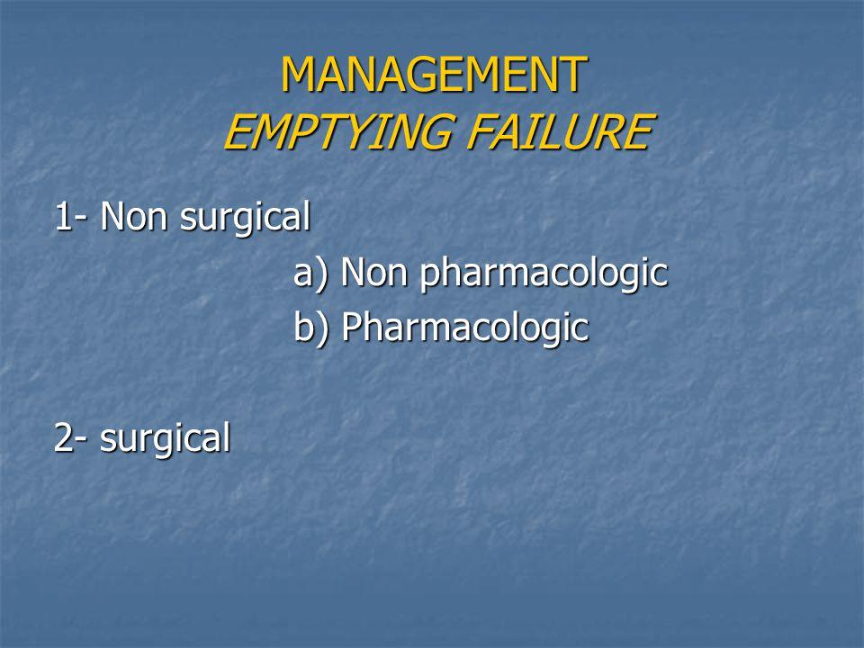 MANAGEMENT EMPTYING FAILURE