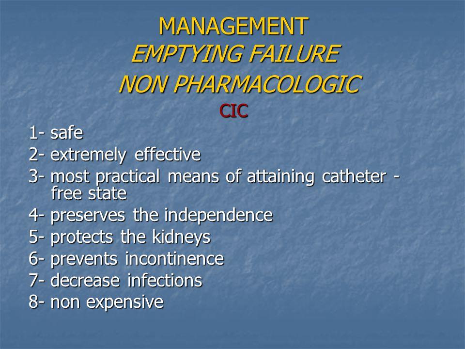 MANAGEMENT EMPTYING FAILURE NON PHARMACOLOGIC