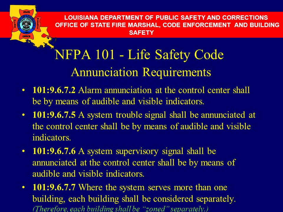 NFPA 101 - Life Safety Code Annunciation Requirements