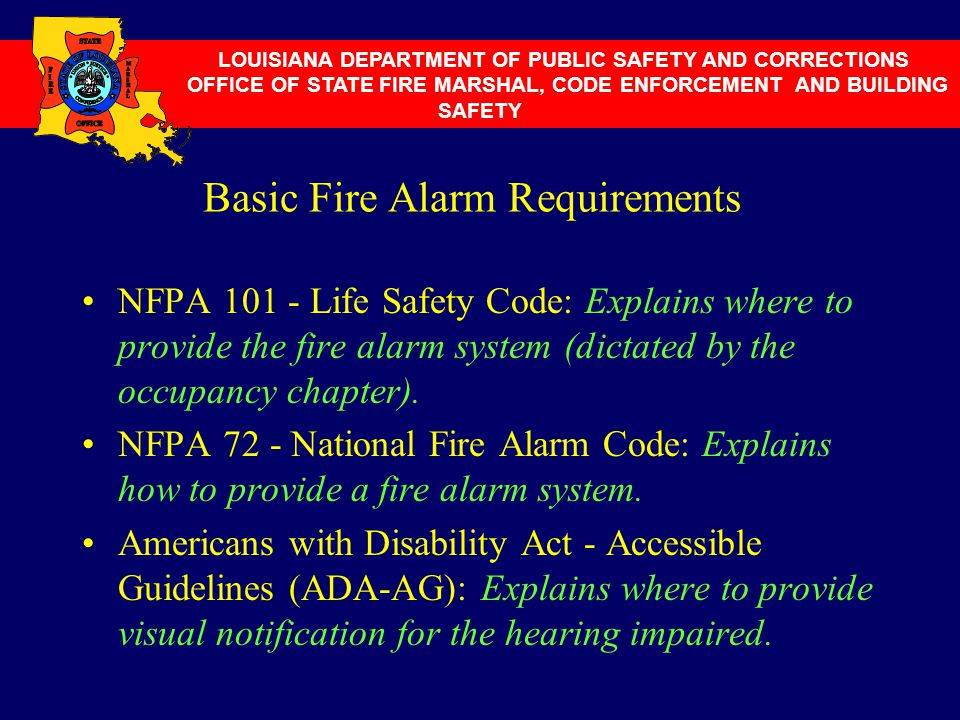 Basic Fire Alarm Requirements