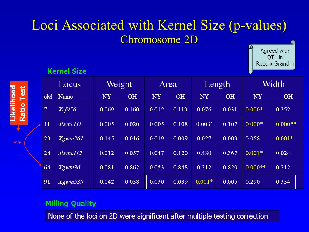 Loci Associated with Kernel Size (p-values) Chromosome 2D