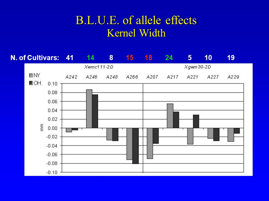 B.L.U.E. of allele effects Kernel Width