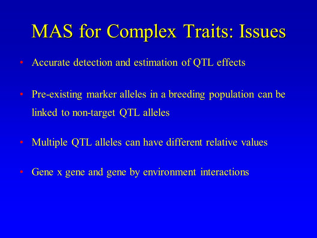 MAS for Complex Traits: Issues