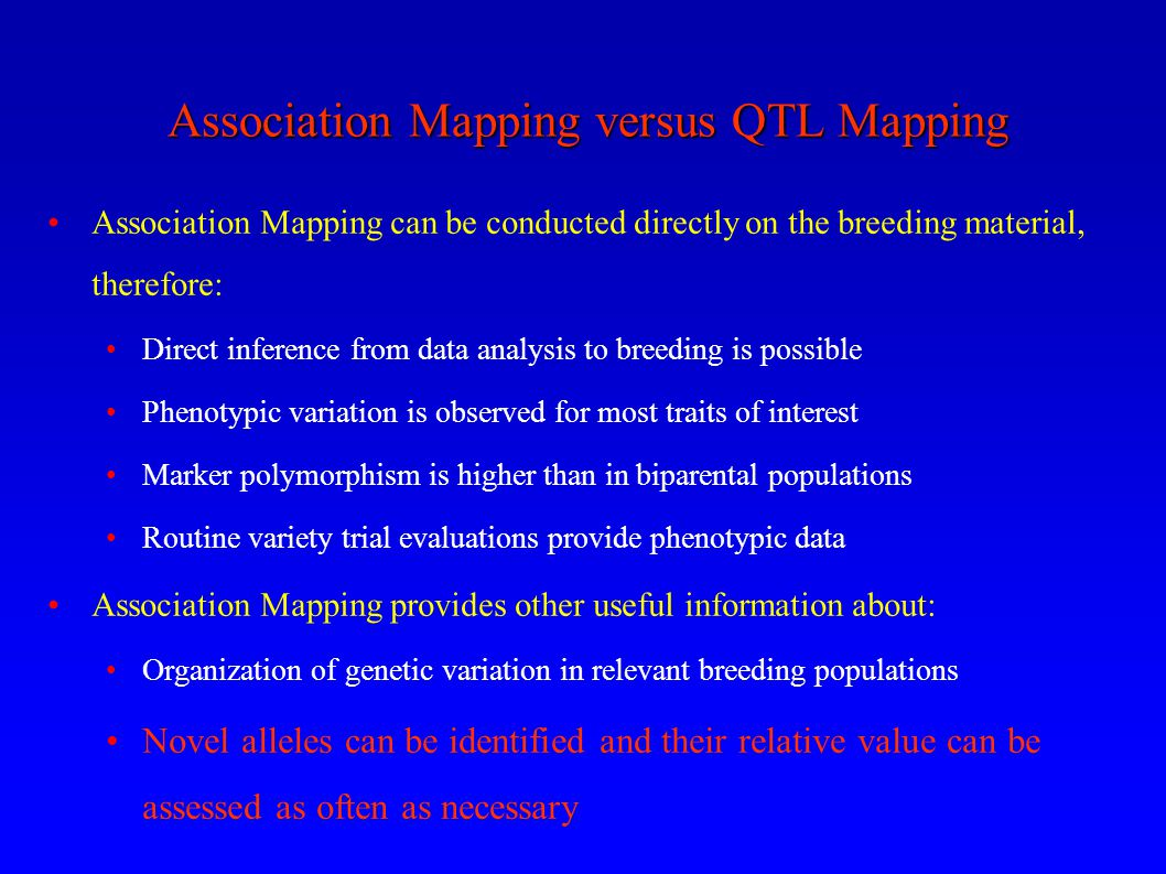 Association Mapping versus QTL Mapping
