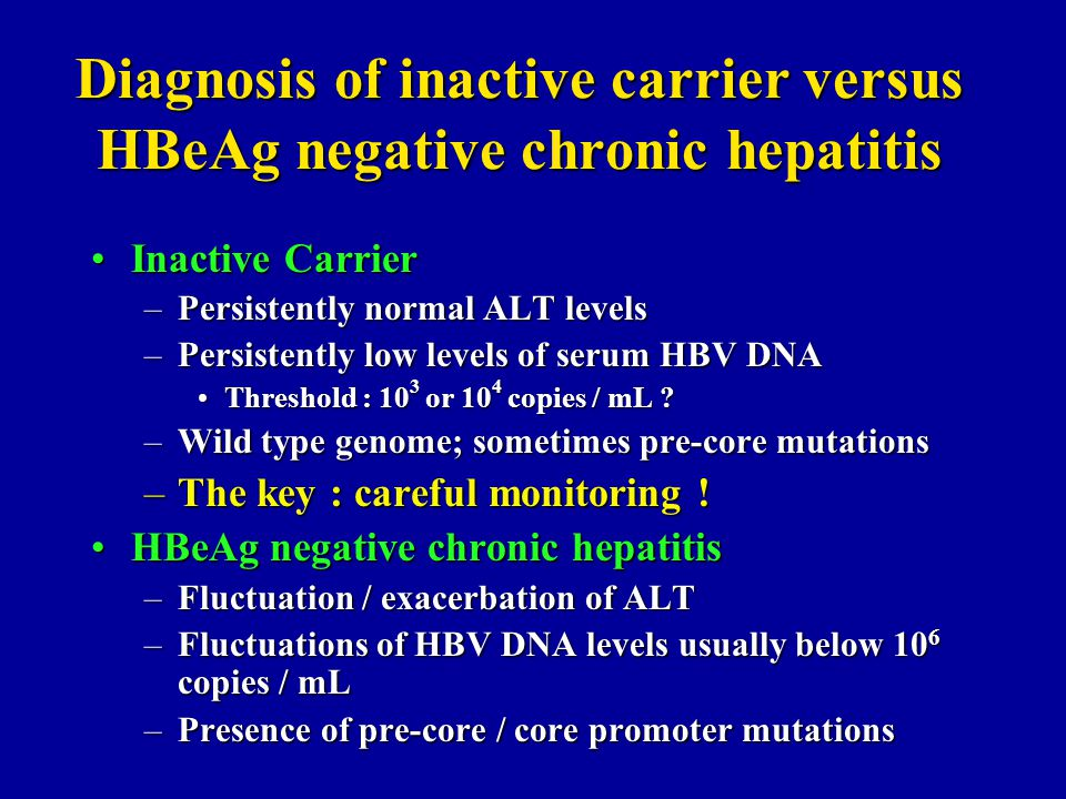 Diagnosis of inactive carrier versus HBeAg negative chronic hepatitis