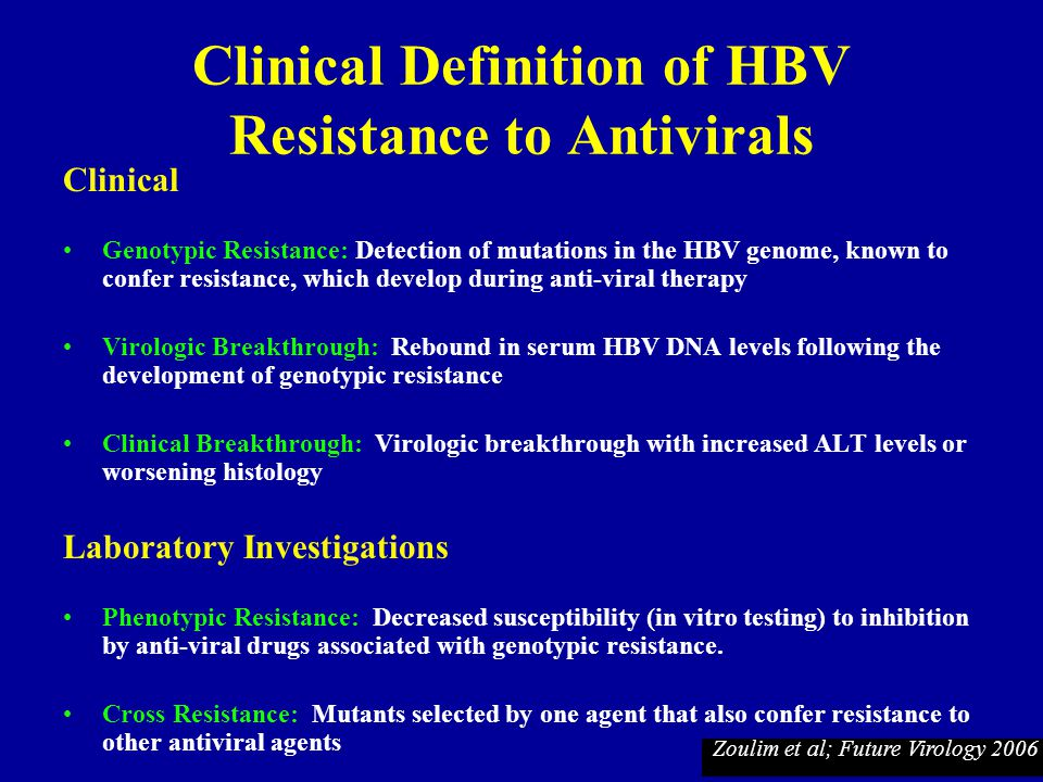 Clinical Definition of HBV Resistance to Antivirals
