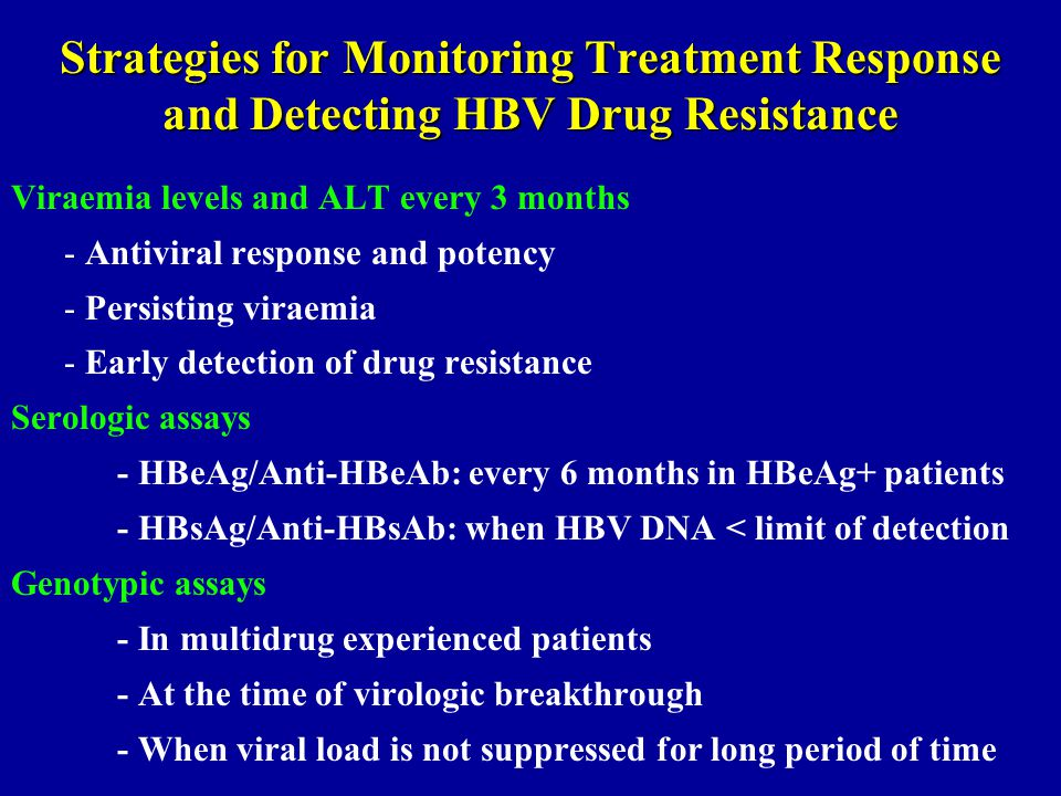 Strategies for Monitoring Treatment Response and Detecting HBV Drug Resistance