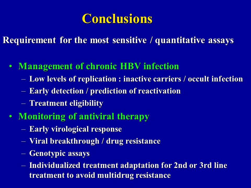 Conclusions Requirement for the most sensitive / quantitative assays