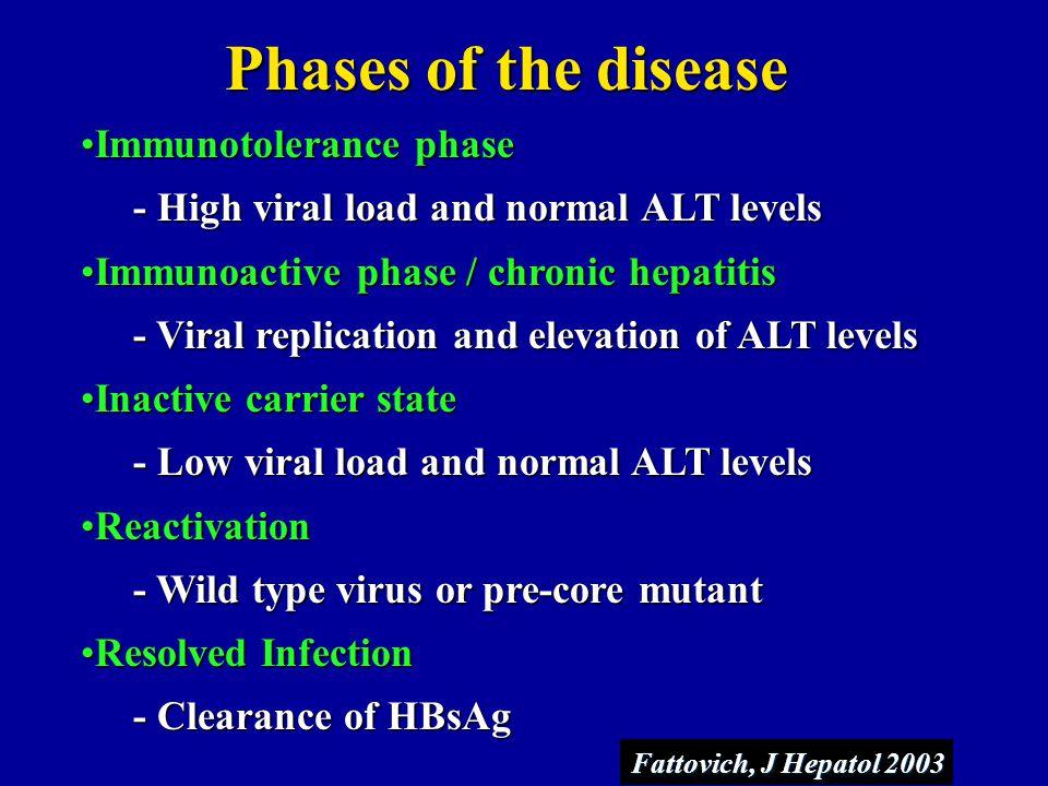 Phases of the disease Immunotolerance phase
