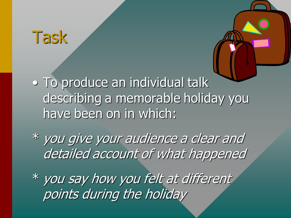 Task To produce an individual talk describing a memorable holiday you have been on in which: