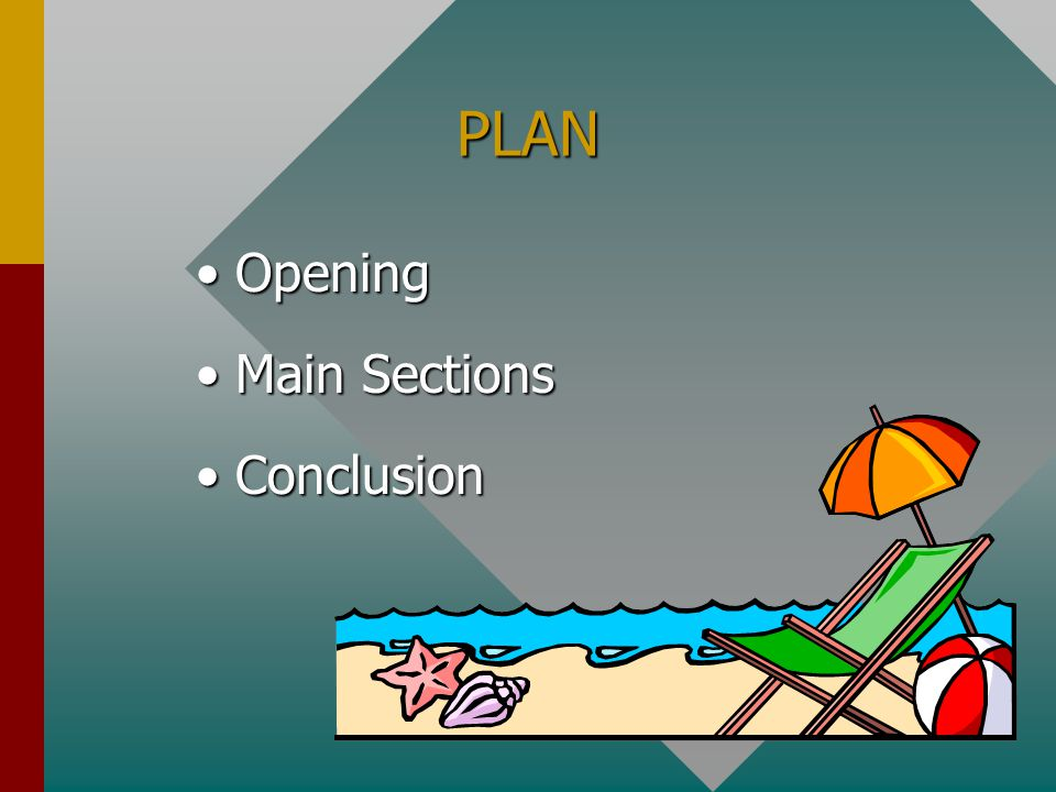 PLAN Opening Main Sections Conclusion