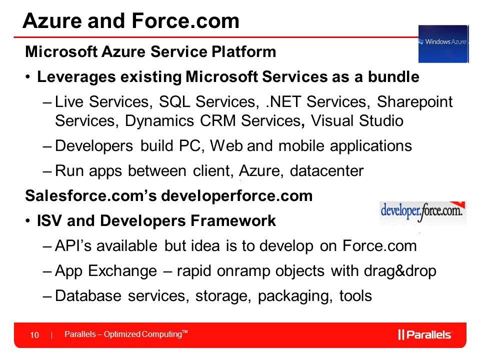 Azure and Force.com Microsoft Azure Service Platform