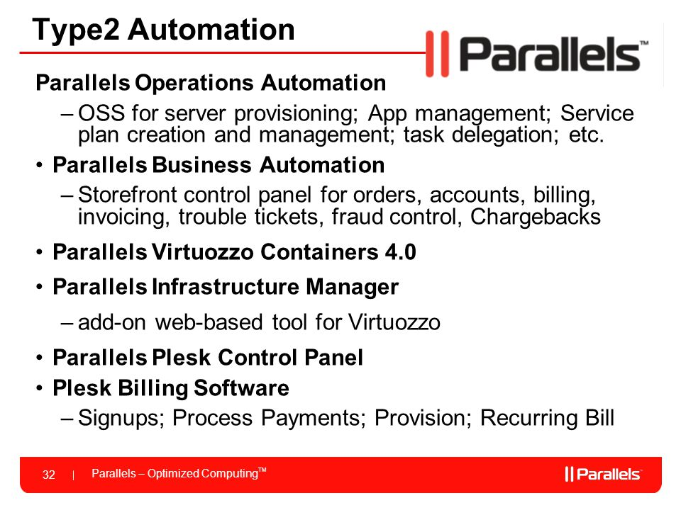 Type2 Automation Parallels Operations Automation