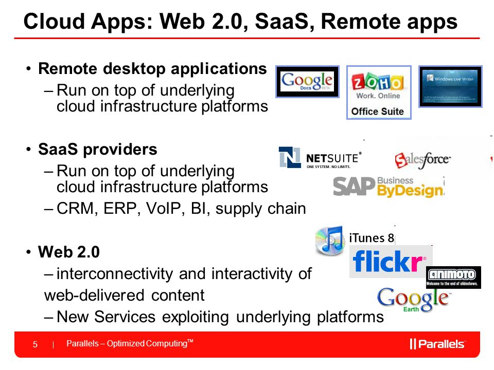 Cloud Apps: Web 2.0, SaaS, Remote apps