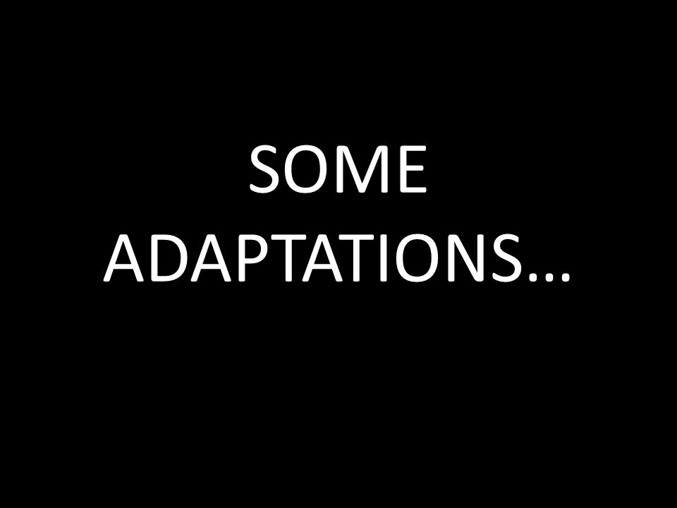 SOME ADAPTATIONS…