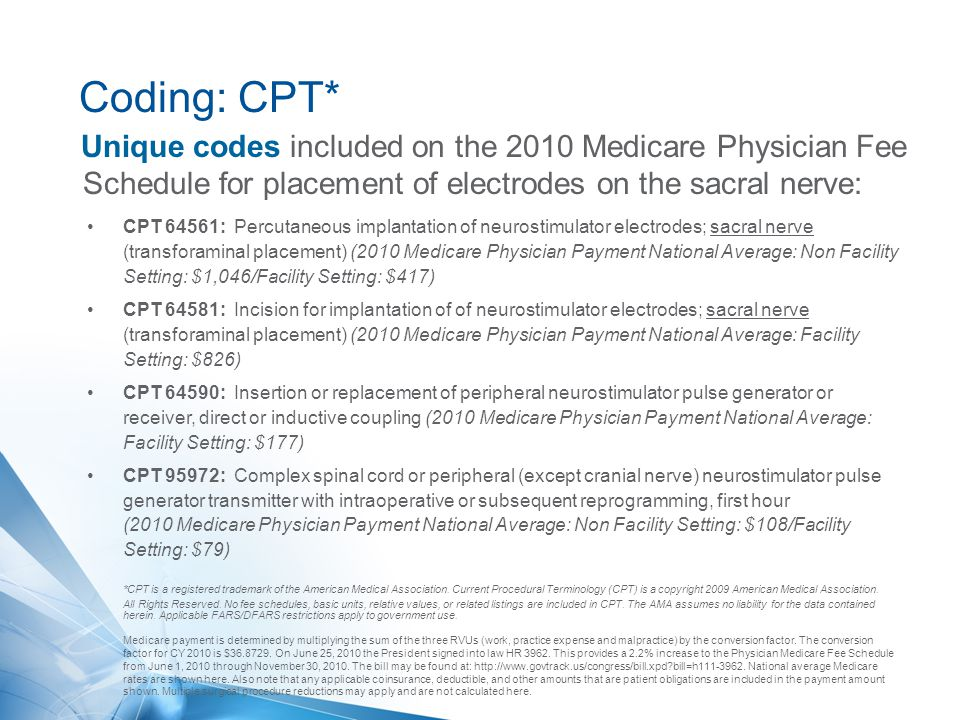 Coding: CPT* Unique codes included on the 2010 Medicare Physician Fee Schedule for placement of electrodes on the sacral nerve: