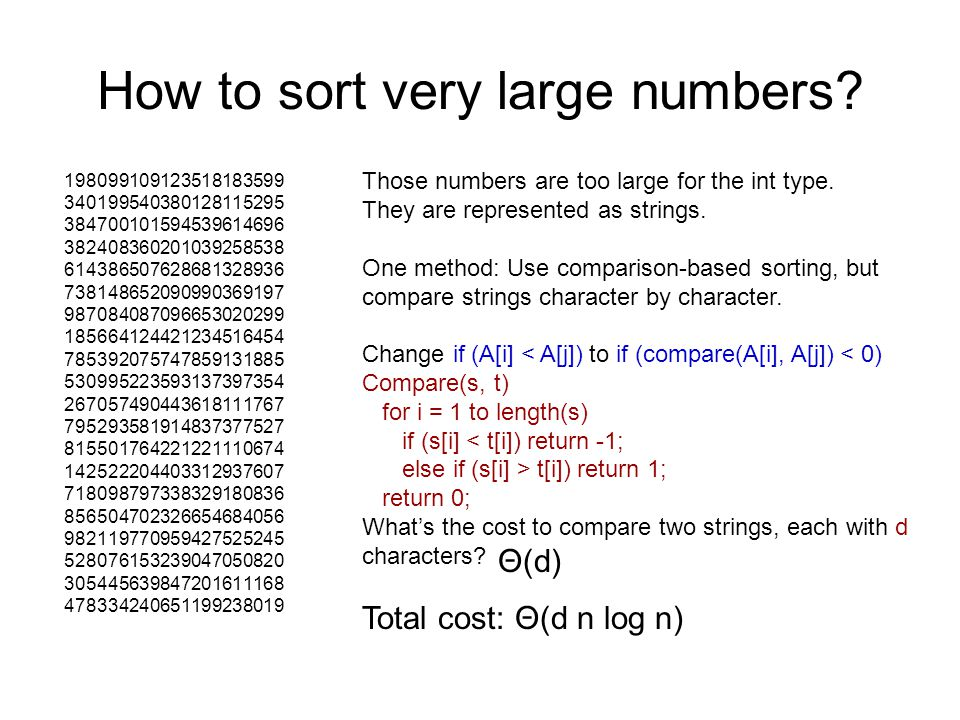 How to sort very large numbers