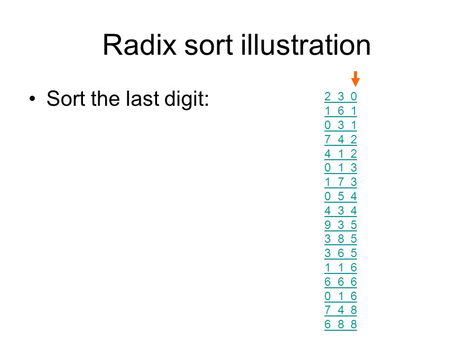 Radix sort illustration