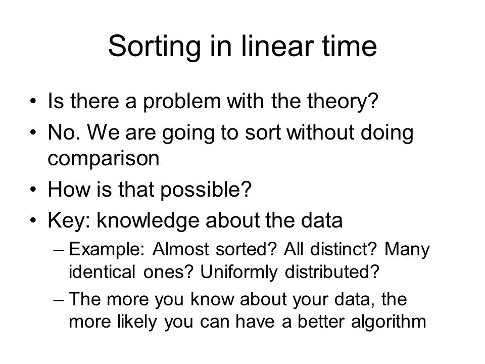 Sorting in linear time Is there a problem with the theory