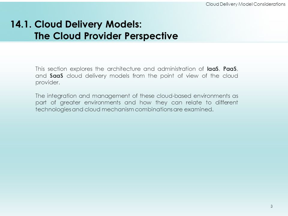 14.1. Cloud Delivery Models: The Cloud Provider Perspective