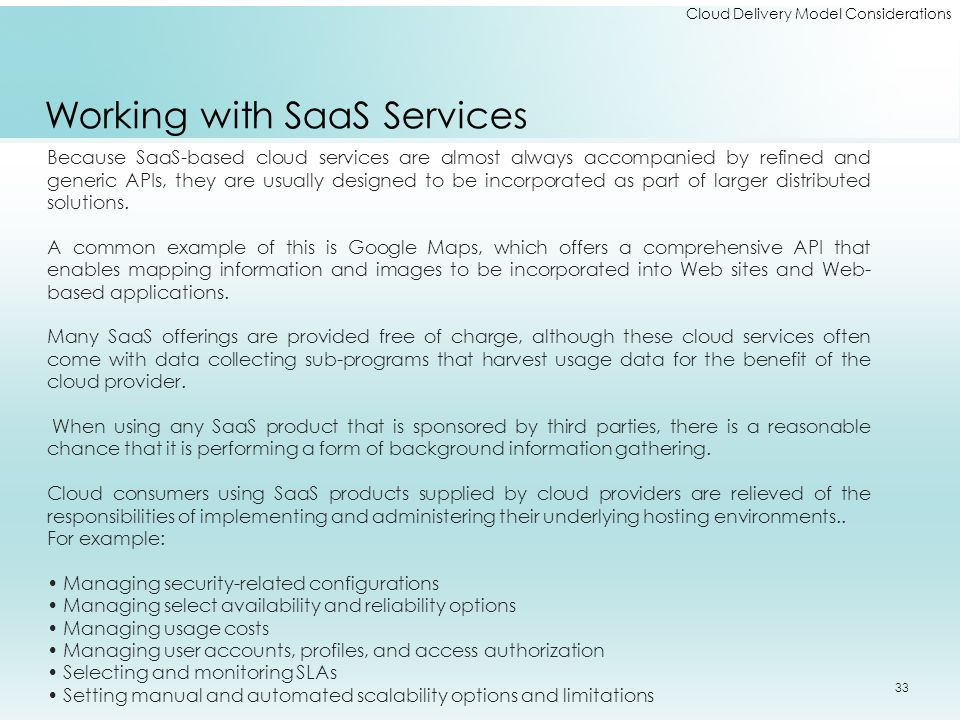 Working with SaaS Services