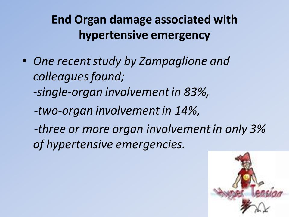 End Organ damage associated with hypertensive emergency