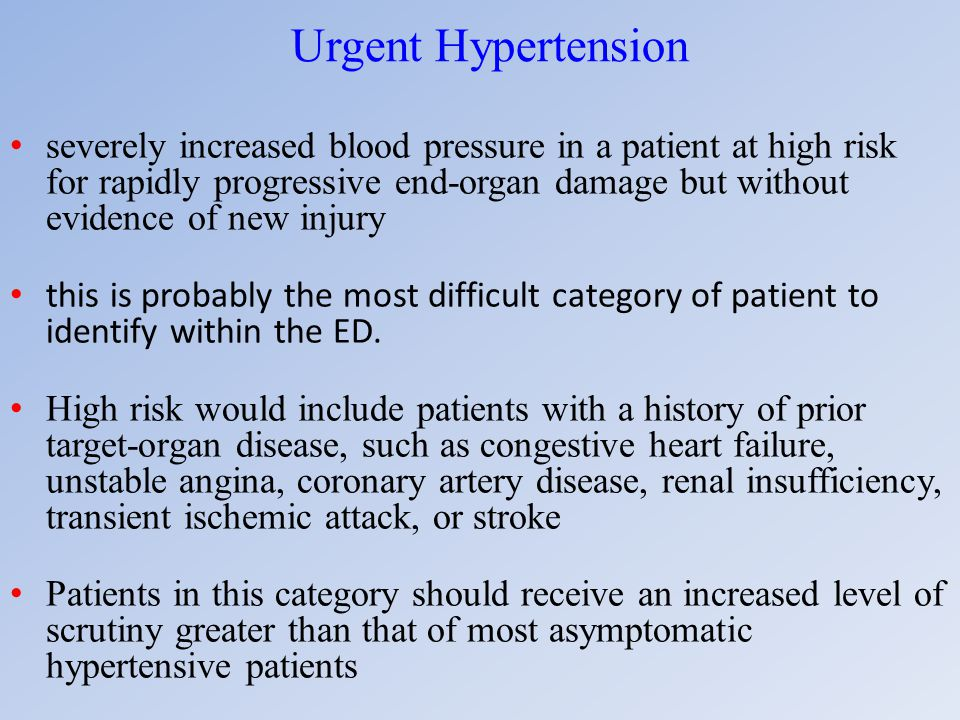 Urgent Hypertension