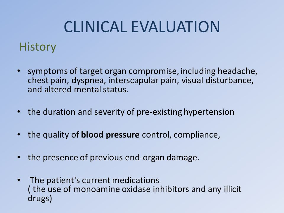 CLINICAL EVALUATION History