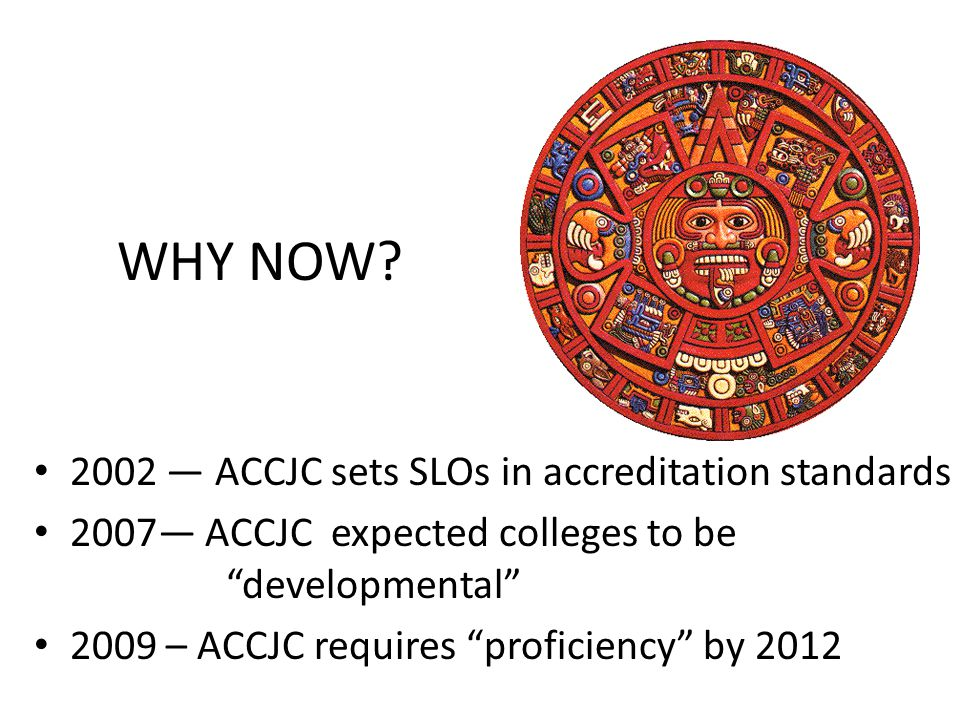 WHY NOW 2002 — ACCJC sets SLOs in accreditation standards